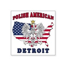 "Detroit Michigan Polish Square Sticker 3"" x 3"""