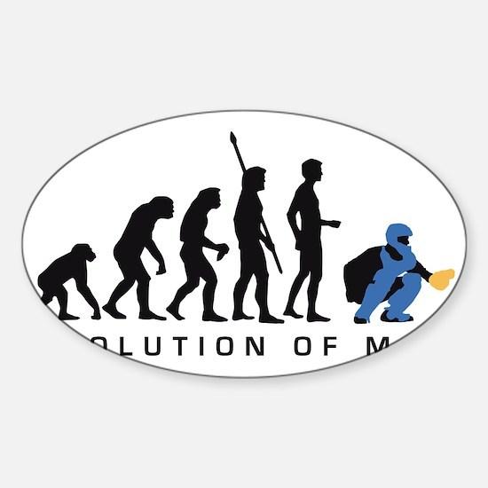 Evolution Baseball catcher B 3c Sticker (Oval)