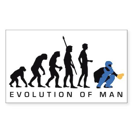 Evolution Baseball catcher B 3 Sticker (Rectangle)