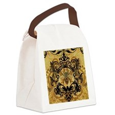 BeeFloralGold460ip Canvas Lunch Bag