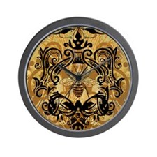 BeeFloralGold460ip Wall Clock