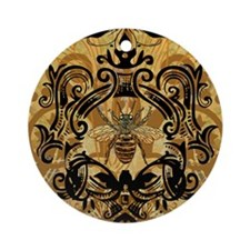 BeeFloralGold460ip Round Ornament