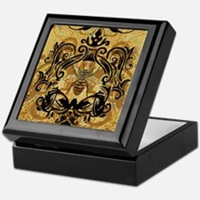 BeeFloralGold460ip Keepsake Box