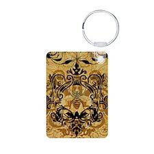 BeeFloralGoldJr Keychains