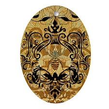 BeeFloralGoldJr Oval Ornament