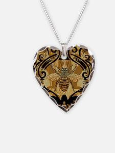 BeeFloralGoldKindleC Necklace Heart Charm