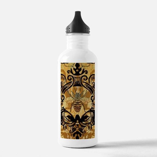 BeeFloralGoldKindleC Water Bottle