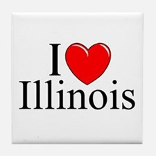 """I Love Illinois"" Tile Coaster"