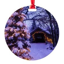 Over the hills we go, dashing throu Round Ornament