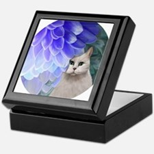 Cat with Blue Zinnia Keepsake Box
