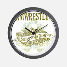 Armwrestling Solves Everything Wall Clock