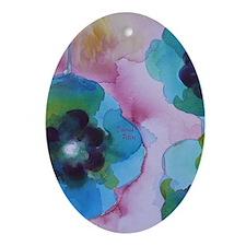Flower Art Blue Oval Ornament