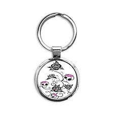 skullroses Round Keychain