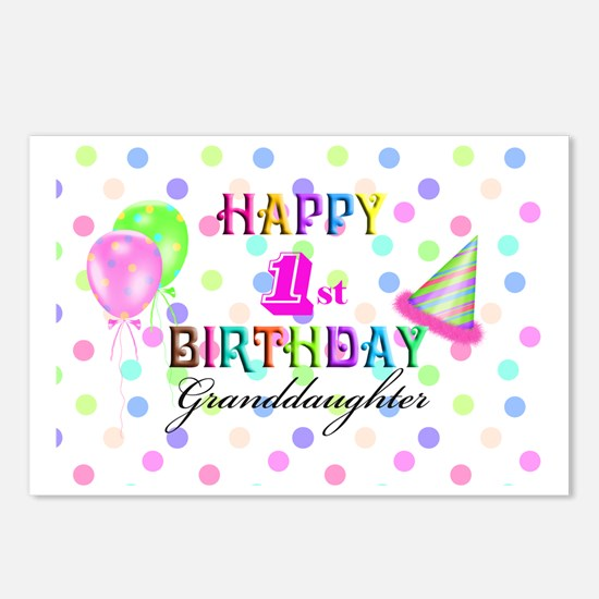Granddaughter 1st Birthda Postcards (Package of 8)
