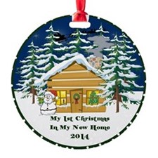 2014 My 1St Christmas Cute Cabin Round Ornament