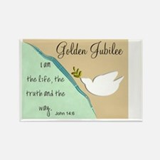 Golden Jubilee Sand Teal Rectangle Magnet