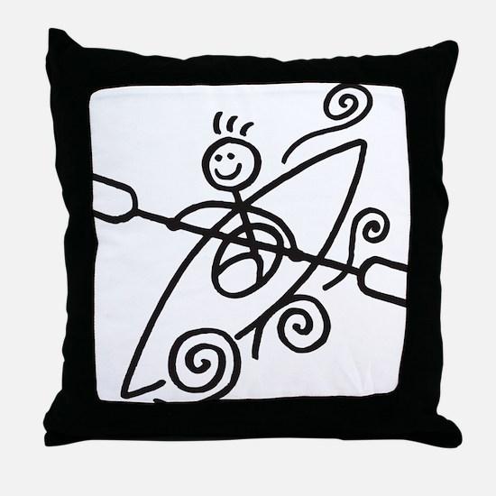 happy kayak black Throw Pillow