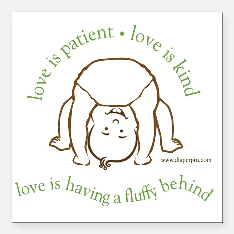 """Fluffy Behind Square Car Magnet 3"""" x 3"""""""