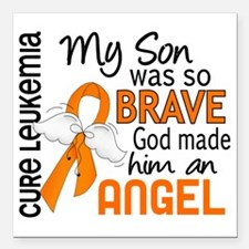 "D Angel 2 Son Leukemia Square Car Magnet 3"" x 3"""
