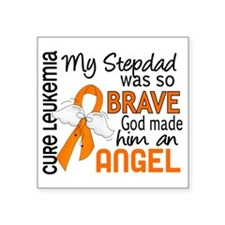 "D Angel 2 Stepdad Leukemia Square Sticker 3"" x 3"""