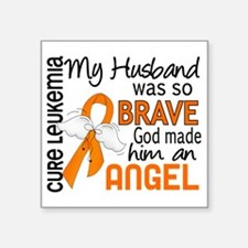 "D Angel 2 Husband Leukemia Square Sticker 3"" x 3"""