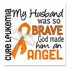 "D Angel 2 Husband Leukem Square Car Magnet 3"" x 3"""