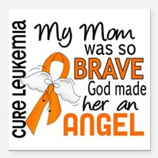"D Angel 2 Mom Leukemia Square Car Magnet 3"" x 3"""