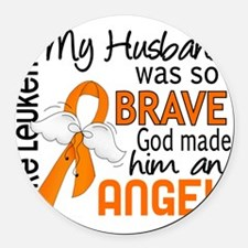 D Angel 2 Husband Leukemia Round Car Magnet