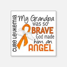 "D Angel 2 Grandpa Leukemia Square Sticker 3"" x 3"""