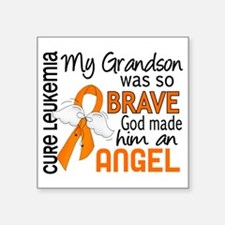 "D Angel 2 Grandson Leukemia Square Sticker 3"" x 3"""