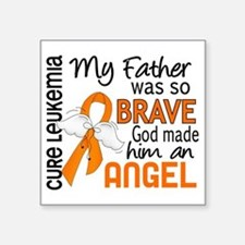 "D Angel 2 Father Leukemia Square Sticker 3"" x 3"""