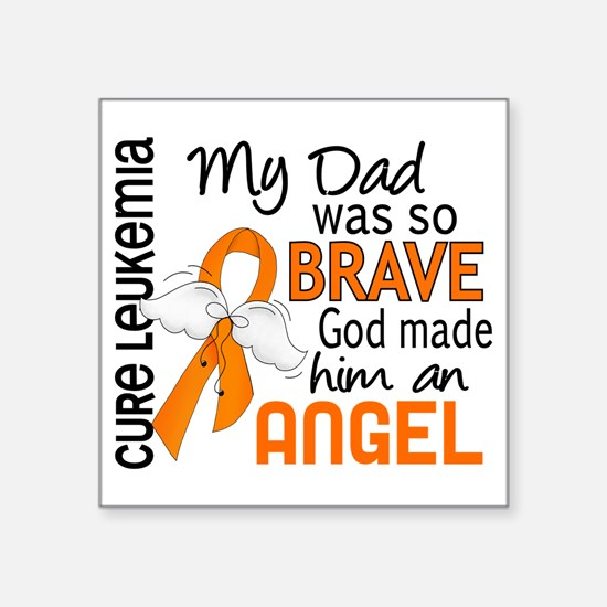 "D Angel 2 Dad Leukemia Square Sticker 3"" x 3"""