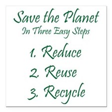 "Save The Planet Square Car Magnet 3"" x 3"""