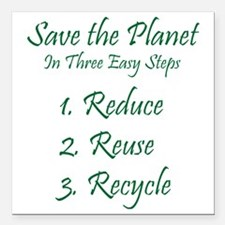 """Save The Planet Square Car Magnet 3"""" x 3"""""""