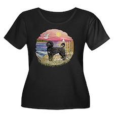 PinkSune Women's Plus Size Dark Scoop Neck T-Shirt