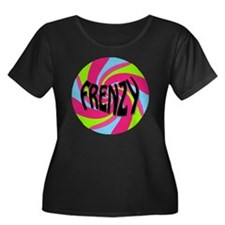 Frenzy_c Women's Plus Size Dark Scoop Neck T-Shirt