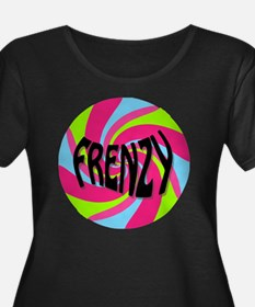 Frenzy_c Women's Plus Size Dark Scoop Neck T-Shirt