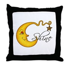 Glowing MoonShine With Star Throw Pillow