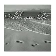 Cool Heart footprints Tile Coaster