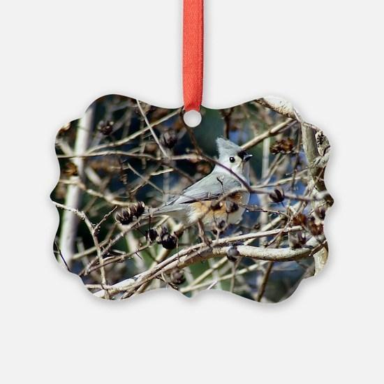 TuftedTitmousePost Ornament