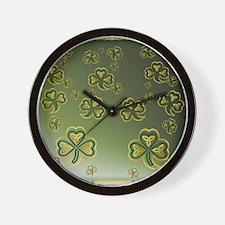 King Duve Gold and Green Shamrocks Wall Clock