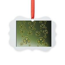 King Duve Gold and Green Shamrock Ornament