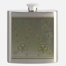 King Duve Gold and Green Shamrocks Flask