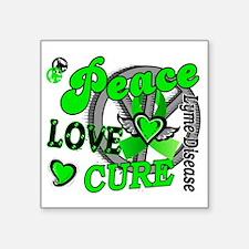 "D Peace Love Cure 2 Lyme Di Square Sticker 3"" x 3"""