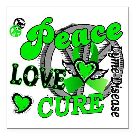 """D Peace Love Cure 2 Lyme Square Car Magnet 3"""" x 3"""""""