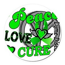 D Peace Love Cure 2 Lyme Disease Round Car Magnet