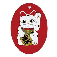 Maneki Neko Cat Oval Ornament