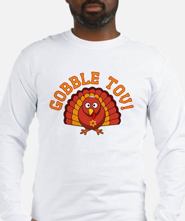 Gobble Tov Thanksgivukkah Turkey Long Sleeve T-Shi