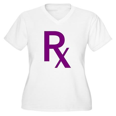 Purple Rx Symbol Women's Plus Size V-Neck T-Shirt