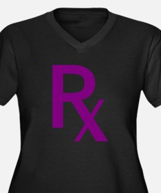 Purple Rx Symbol Women's Plus Size V-Neck Dark T-S